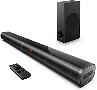 190W Sound Bars for TV, 2.1 TV Sound Bar with Subwoofer, 125dB, 6 EQ Modes, LED Display Off, 10 Bass Adjustable Surround S...