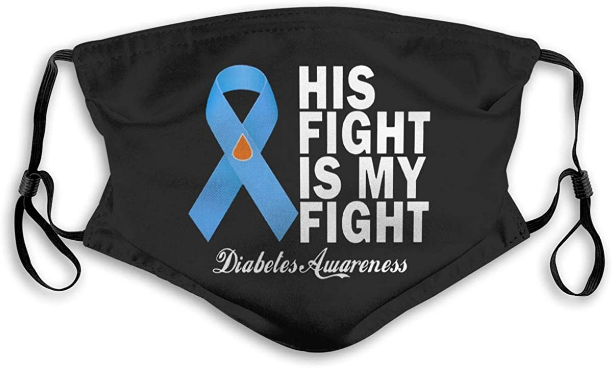 Diabetes Awareness Blue Ribbon Unisex Cloth Face Mask Reusable Adjustable Bandanas Windproof Dustproof Face Protection Decoration Face Cover Balaclava