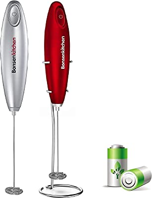 Bundle-Bonsenkitchen Electric Milk Frother 2 Pack, Automatic Milk Foam Maker for Bulletproof coffee, Matcha, Hot Chocolate Stainless Steel Whisk Battery Operated Mini Drink Mixer Blender, Stainless St