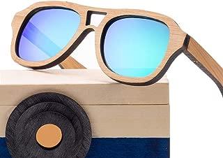 Kids Sunglasses Bamboo Frame Polarized Sunglasses UV 400 Protection Ultra-Light Frame Colorful Sunglasses for Children of 5-12,Green