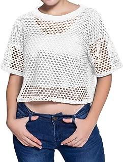 Women's Mesh Cover Up See Through Fishnet T-Shirt Crop Top