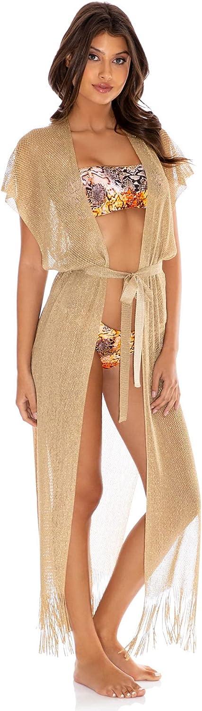 Luli Fama Women's Golden Queen Fringe Long Kimono Swim Cover Up