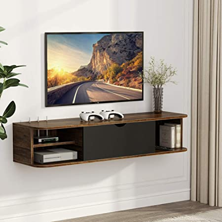 Tribesigns Rustic Wall Mounted Media Console with Door, Floating TV Shelf TV Stand 43.3x13x9.8 inch for PS4/Xbox One/Cable Box/DVD Players/Game Console (Vintage Brown)