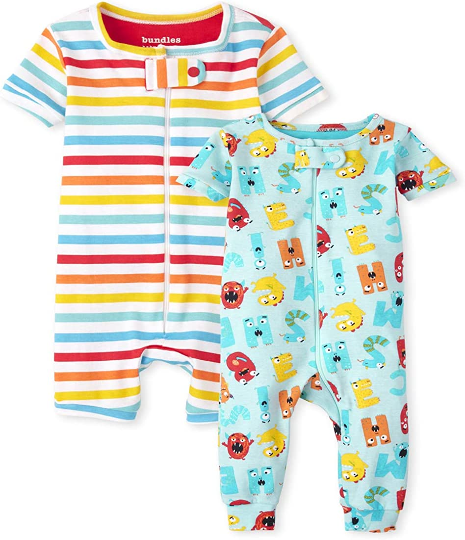 The Children's Place Unisex Baby And Toddler ABC Striped Snug Fit Cotton One Piece Pajamas 2-Pack