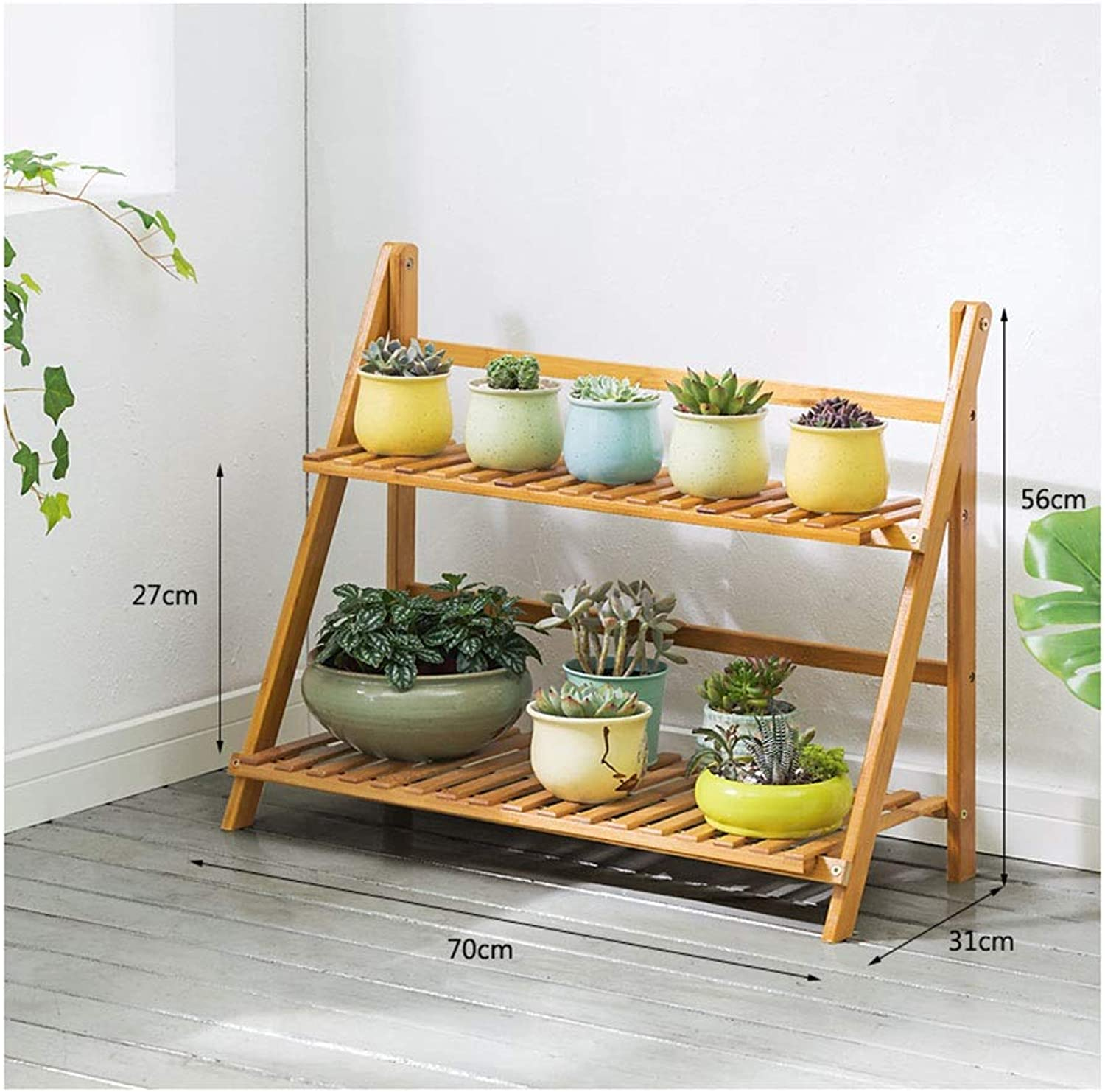 MBD 3 Tiered Folding Plant Ladder Display Stand   Bamboo Succulent Flower Steps for Balcony Decor 56CM