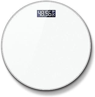 MHBY Báscula de Peso, índice de Cuerpo Redondo Báscula de Peso Inteligente electrónica Báscula de Cuerpo de baño Báscula de Cuerpo Digital Báscula de baño Blanca Pantalla LCD de Piso