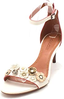 Coach Womens Tea Rose Mule Open Toe Casual Ankle Strap Sandals, Chalk, Size 9.0