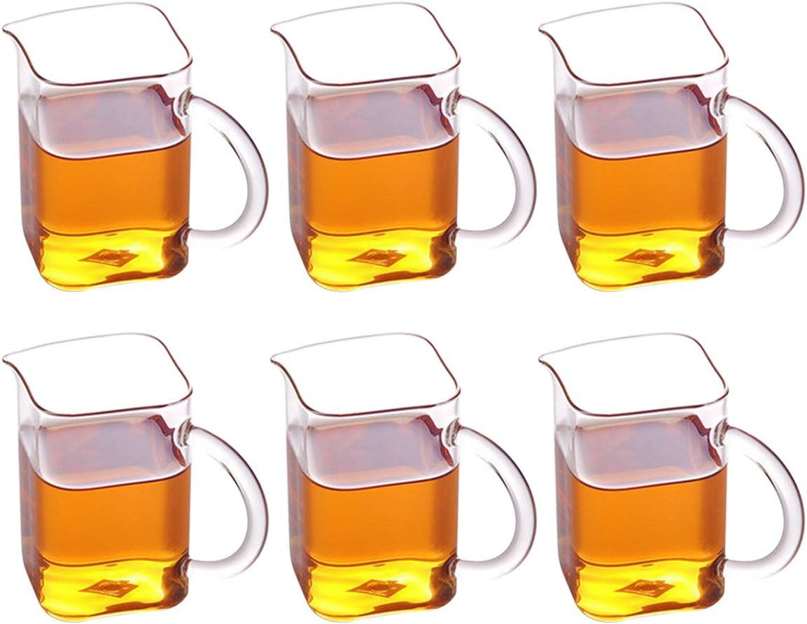 bouti1583 Set of 6 Square Glass Tea Cups Cappuccino 新色追加 Coffee 通販 激安 Latte
