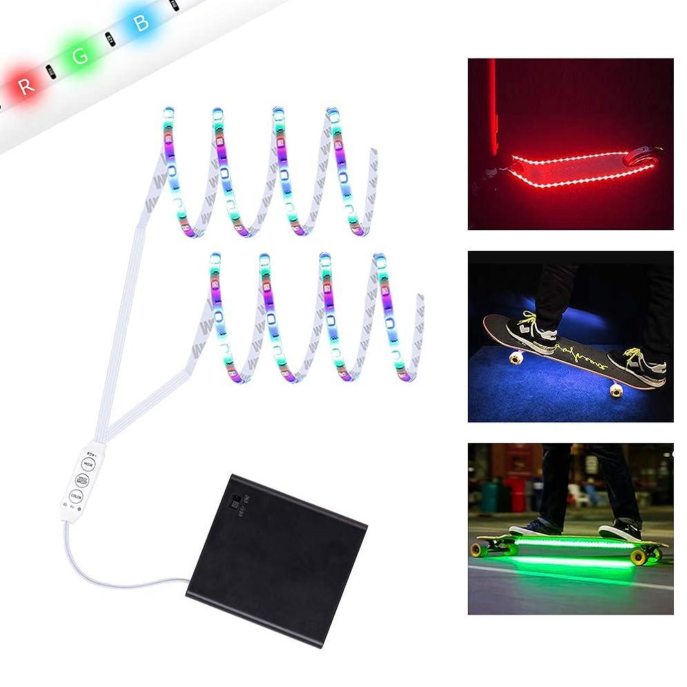 生活で同僚DANCRA LEDテープライト 電池式 0.8M*2 SMD3528R/G/B コントロール付き スピード、輝度、色調整可能 スケートボード飾り 電動スケボー 自転車 フィギュア照明 イルミネーションライト