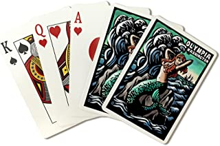 Olympia, Washington - Mermaid - Scratchboard (Playing Card Deck - 52 Card Poker Size with Jokers)