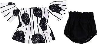 Distinguished Elegant Infant Kids Baby Girls Outfits Clothes T-Shirt Tops Dress+Pants Shorts 2PCS Set - White+Black, 18-24...