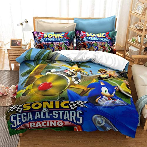 New 3D Bedding Set Sonic Hedgehog Pattern Duvet Cover and Pillowcase Queen King Size (13,140 x 210 cm)