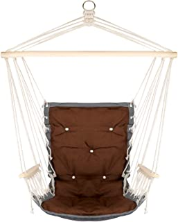 Hanging Rope Hammock Chair with Wooden Handrail, Large Hammock Porch Swing Seat, Cotton Rope Porch Chair for Indoor, Outdoor, Garden, Patio, Porch, Yard