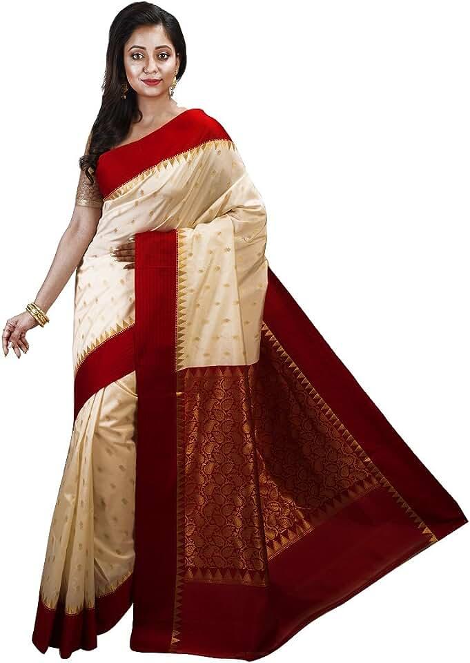 Indian Avik Creations Women's Sars Silk Saree with Blouse Piece (AC-706A_Off-white, Red) Saree