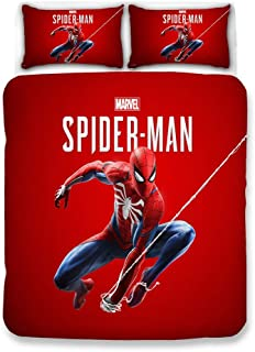NOOS Marvel Spider-Man Bedding Set 3D Kids Duvet Cover Queen Size, Cartoon Marvel Bedding Comforter Cover Set, Super Soft Microfiber Bed Set 3PC,1Duvet Cover, 2Pillowcases