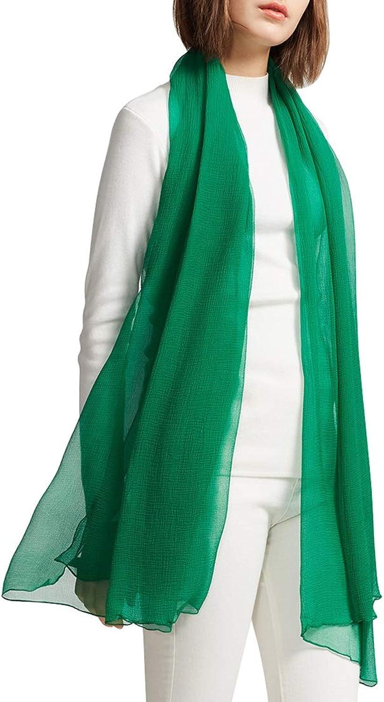 KERVINJESSIE Spring Lightweight Scarf Ms. Silk Scarf Mulberry Silk Towel Beach Shawl (color   Green, Size   185cm107cm)
