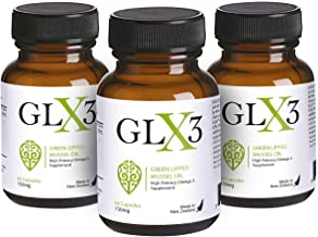 GLX3 3 Pack - Extra Strength Green Lipped Mussel Oil Capsules – Green Mussel New Zealand Oil & Joint Supplements – Natural No Fish Burp Oil – Joint Pain Relief – 60 Tablets