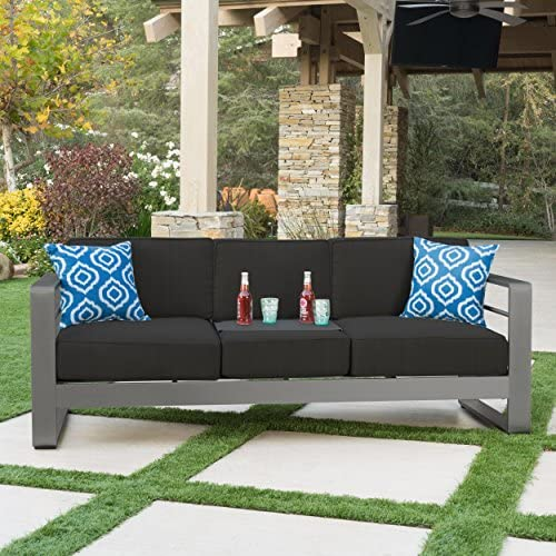 Best Christopher Knight Home Crested Bay Patio Furniture | Outdoor Grey Aluminum Sofa Couch with Dark Gre