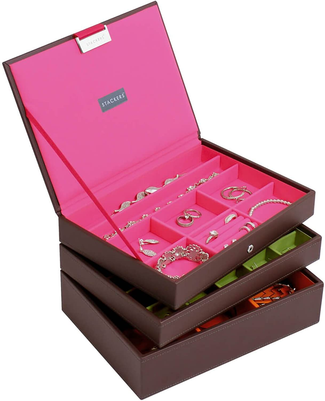 Stackers Choc Brown Classic Jewelry Box - Set of 3