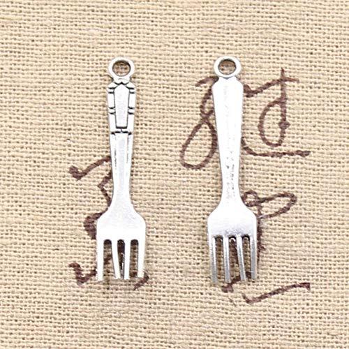 WANM 15 Unids Encantos Tenedor Cocina Cocina 32X7Mm Colgante De Fabricación Antigua Ajuste Vintage Color Plata Tibetano DIY Joyería Hecha A Mano Colgante De Aleación
