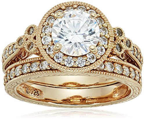 Yellow-Gold-Plated Sterling Silver Antique Rings set made with Swarovski Zirconia, Size 7