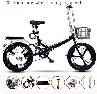 Nfudishpu Ultralight Portable Folding Bike for Adults with self Installation 20 inch one Wheel Single Speed,Black