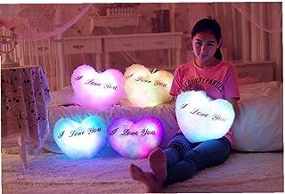 AYRSJCL En Forma de corazón Blanca 1pc Creativo Resplandor de Colores por la Noche y la Oscuridad Almohada Almohada Amor Flash Pareja Cojines Regalos Regalo de San Valentín