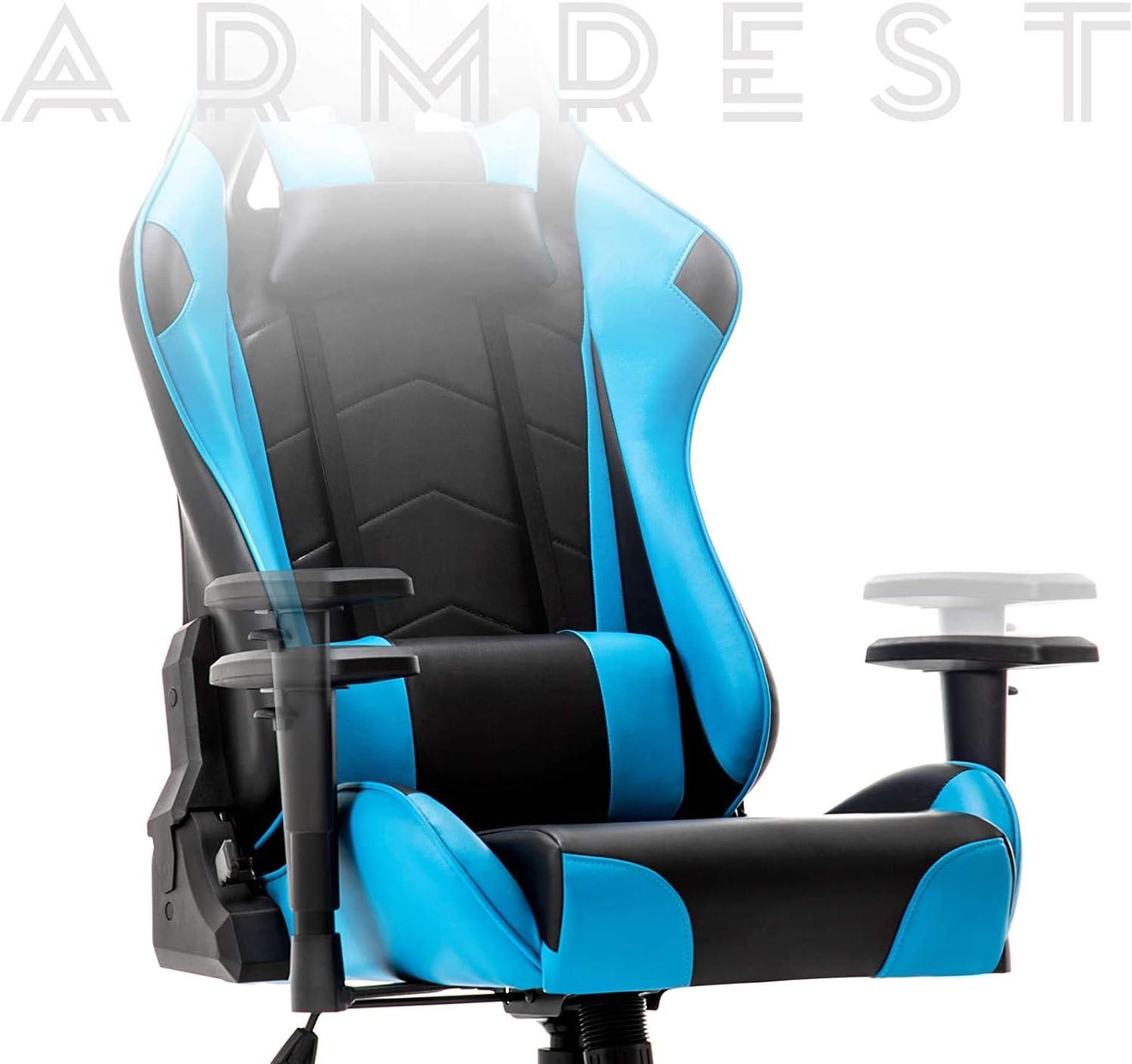 Chaise De Jeu Massage avec Repose-Pieds Chaise De Bureau avec Massage Support Lombaire Chaise Pivotante avec Accoudoir De Style Course en Cuir PU À Dossier Haut Blue