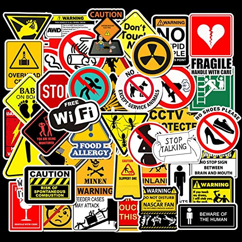 FSVGC Sticker Sticker Warning Warning Sign Luggage Trolley Case Motorcycle Car Sticker Waterproof Graffiti Sticker 50 Pcs