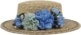 QinMei Zhou Women Summer Wheat Straw Boater Hat Lady With Handmade Flower Sunbonnet