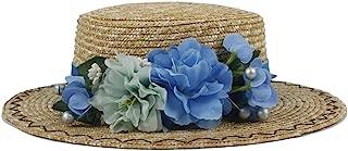 Xiang Ye Women Summer Wheat Straw Boater Hat Lady With Handmade Flower Sunbonnet