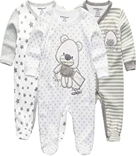 Kiddiezoom Baby Jungen Strampler Snug Fit Fußed Baumwolle Pyjama Langarm Onsize Schlafanzug