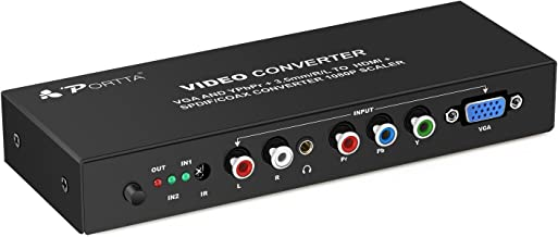 Portta VGA and YPbPr Component + R/L Audio to HDMI Converter v1.3 with Remote Support 720P 1080P
