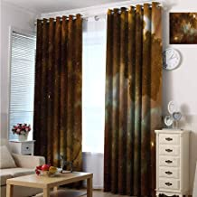hengshu Constellation Wear-Resistant Color Curtain Dusty Nebula Spiral Galaxy in Billions of Stars Infinity 2 Panel Sets W72 x L96 Inch Pale Coffee Mint Green White