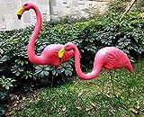 GR8 Garden 2-tlg Plastik Rosa Flamingo Vogel Rasen Figur Gartenparty Wiese Teich Verzierungen Statue Decoration Figur Skulptur Tiere Dekor Set