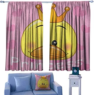 Mannwarehouse Teen Girls Kids Room Curtains Adorable Princess Duck with Tiara and Hearts in The Background Fun Artwork 70%-80% Light Shading, 2 Panels,55