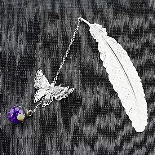 Metal Feather Bookmark Boxed Gifts for Women, Creative Bookmark with 3D Butterfly Glass Beads Eternal Dry Flower Pendant, Small Birthday Christmas Gifts for Reader Teacher Writer (Silver+Purple)