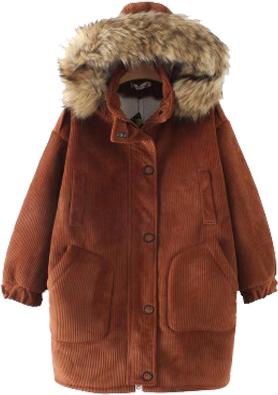 Women's Corduroy Cotton-Padded Jacket, Faux Fur Trim Hood Mid-lengt Warm Winter Jacket with Pocket