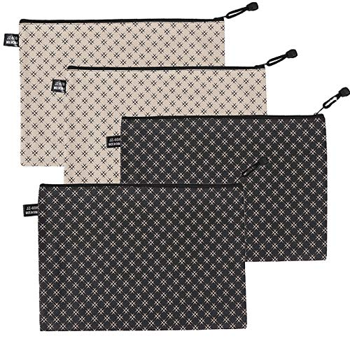 ULVBABI 4 Pack Zippered Security Bank Deposit Money Bag, Utility PVC Leatherette Zipper Wallet Pouch for Cash Money, Coin, Cosmetics, Small Tools, 10'' x 7''