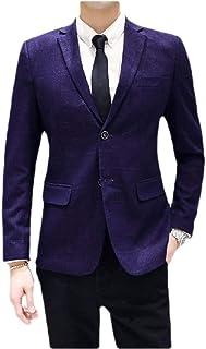 neveraway Mens Skinny Blazer Business 2 Button Plaid Sport Coat Jacket