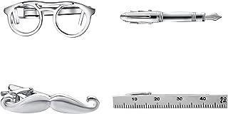 Novety Tie Clips for Men Unique Design Eyeglass/Car Funny Tie Bar Clips