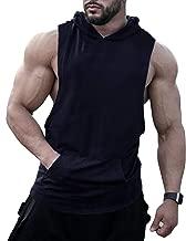 URRU Men's Hooded Tank Tops Workout Sleeveless Muscle Shirt with Kangaroo Pocket S-XXL