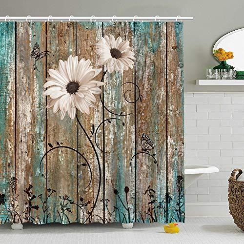 Stacy Fay Rustic Shower Curtain, Floral Barnwood Fabric Bathroom Curtain Home Decoration Set with Hooks Old Wooden Garage Door American Native Country Farm Style Artwork 72x72 Inches Machine Washable