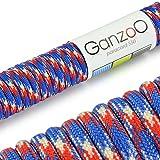Paracord 550 Seil Blau | Rot | Weiß | 31 Meter Nylon-Seil mit 7 Kern-Stränge | für Armband | Knüpfen von Hunde-Leine oder Hunde-Halsband zum selber machen | Seil mit 4mm Stärke | Mehrzweck-Seil | Survival-Seil | Parachute Cord belastbar bis 250kg (550lbs) - Marke Ganzoo