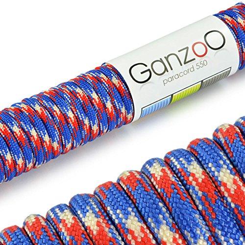 Paracorde 550, corde de survie à usages multiples et ultra-résistante, corde de parachute, corde gainée en nylon, longueur totale: 31m, couleurs: rouge, bleu et blanc – ATTENTION: NE PAS UTILISER CETTE CORDE POUR L'ESCALADE, de la marque Ganzoo