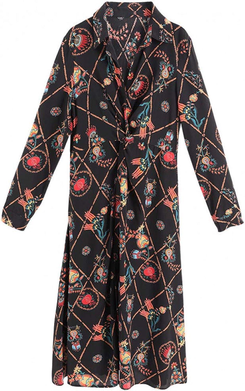746ebc257 BINGQZ Cocktail Dresses Silk dress female early spring shirt long skirt  temperament Slim fashion silk shirt skirt floral nopniy4212-Sporting goods