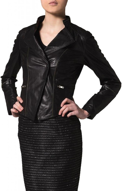 Leather Women's Lambskin Leather Bomber Biker Jacket W056
