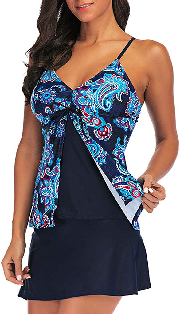 Navy Tankini Swimsuits for Women Strap-Backed Low-Cut Dressy Bikini Set High Waisted Swim Bottom Skirt Hot Bathing Suits