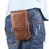 Borsa Clip Cintura per Smartphone, Moon mood 5.5' Universale Verticale Borsello da Uomo Sacchetto Sportivo Portafoglio Pochette in PU Pelle Waist Bag Belt Pouch Cover Custodia per Samsung S7 S6 S5