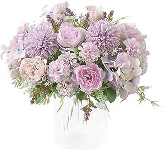 HiDear Artificial Flowers Fake small Peony Silk Hydrangea Bouquet Decor Plastic Carnations Realistic Flower Arrangements W...